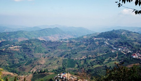 Aussicht über Doi Mae Salong, Thailand, und Umgebung