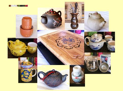 Tee-Zubehör, rund um die Tee-Zeremonie, Collage