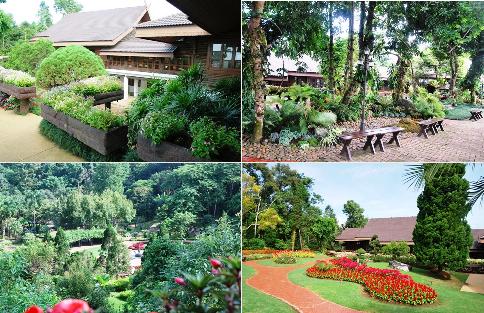 Royal Villa (Königlicher Palast), Doi Tung, Nordthailand, Collage