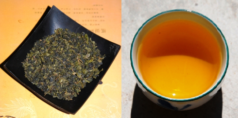 Taiwan Oolong Tea Ruan Zhi Oolong No. 17, rolled and in the cup