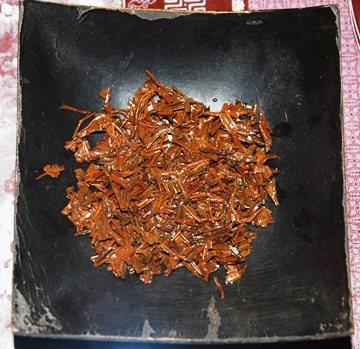 Tongmu Lapsang Jin Jun Mei: nasse Blätter nach dem Aufguss