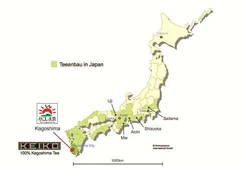 Teeanbaugebiete in Japan, Karte von Keiko