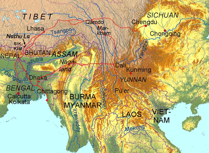 Routen der alten Teestraße von Yunnan und Sichuan nach Lhasa in Tibet