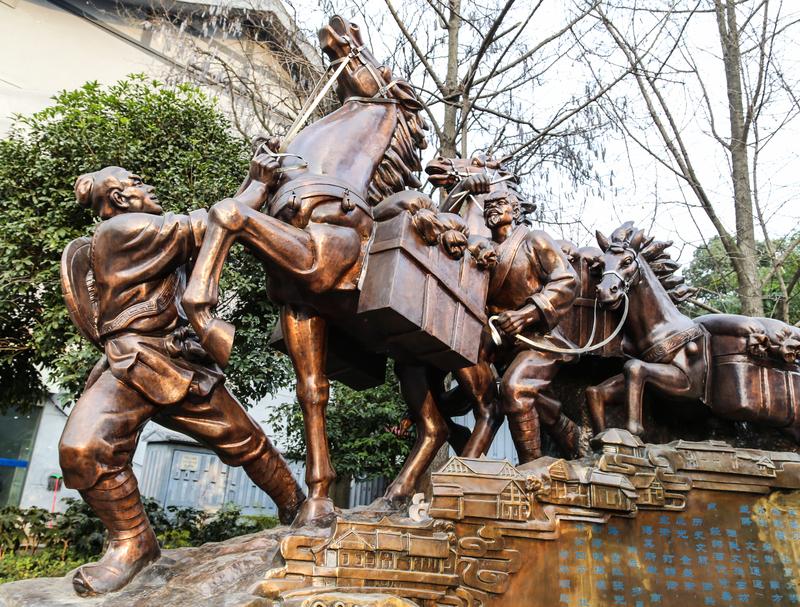 Teestraße- (Tee-Pferdestraße-) Gedenkskulptur in Chengdu, Sichuan, China