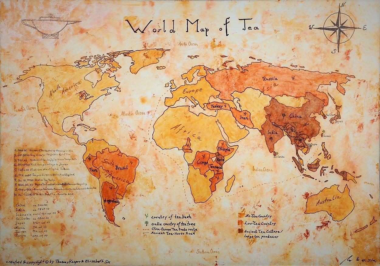 Die Weltkarte des Tees - Handgemalt
